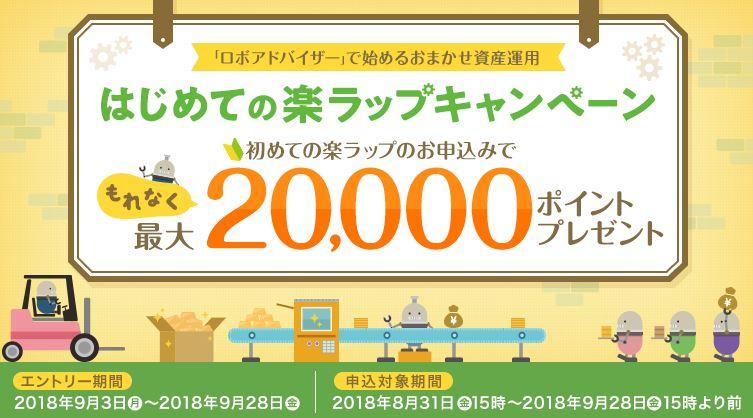 最大20,000ポイントプレゼント「はじめての楽ラップキャンペーン」実施中(9/3-9/28)~「楽天証券」~