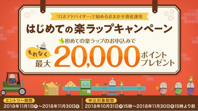最大20,000ポイントプレゼント「はじめての楽ラップキャンペーン」スタート(11/1-11/30)~「楽天証券」~